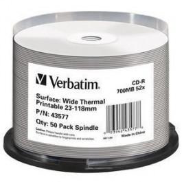 CD-R Wide Thermal Printable 52X 700MB Cake50
