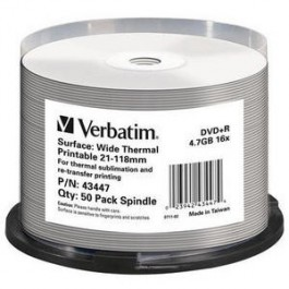 DVD+R 16x Wide Thermal Printable Cake50